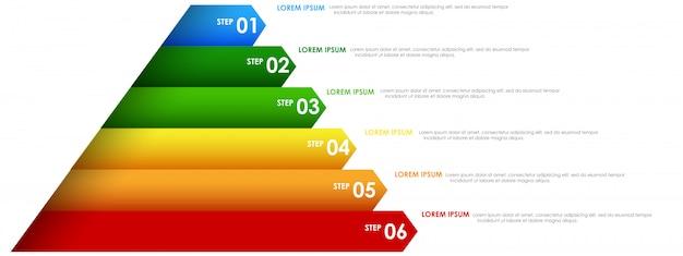 Pirámide de infografías de colores del arco iris