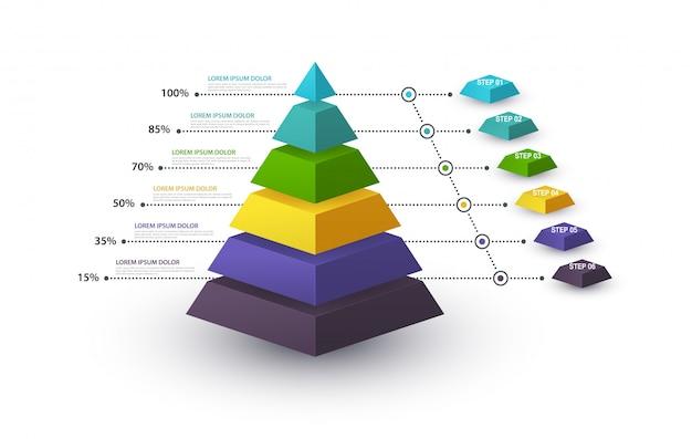 Pirámide infográfica con estructura escalonada y con porcentajes. concepto de negocio con 6 opciones de piezas o pasos. diagrama de bloques, gráfico de información, banner de presentaciones, flujo de trabajo.