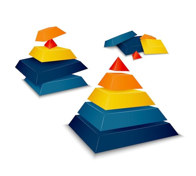 Pirámide montada y desmontada.