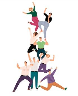 Pirámide de trabajo en equipo de personas exitosas