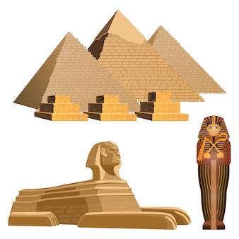 Pirámides egipcias, antigua esfinge y sarcófago del faraón.