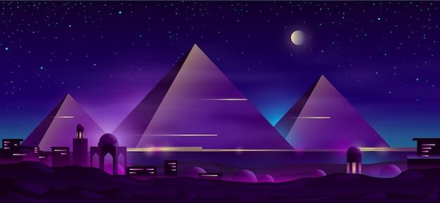 Pirámides egipcias dibujos animados paisaje nocturno
