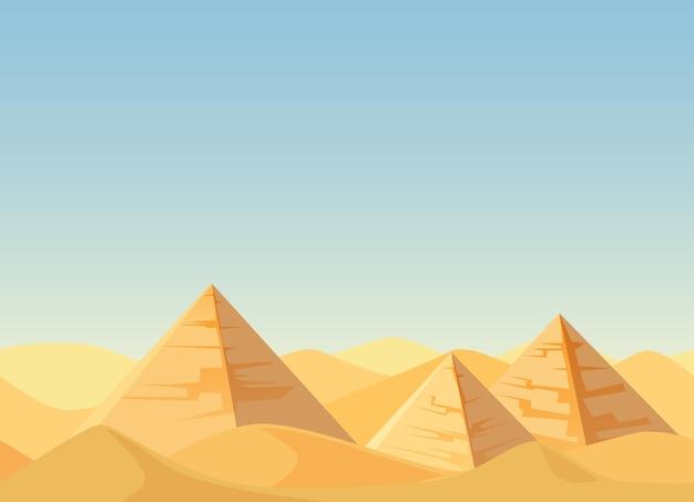 Pirámides de egipto plana de dibujos animados de paisaje desértico.