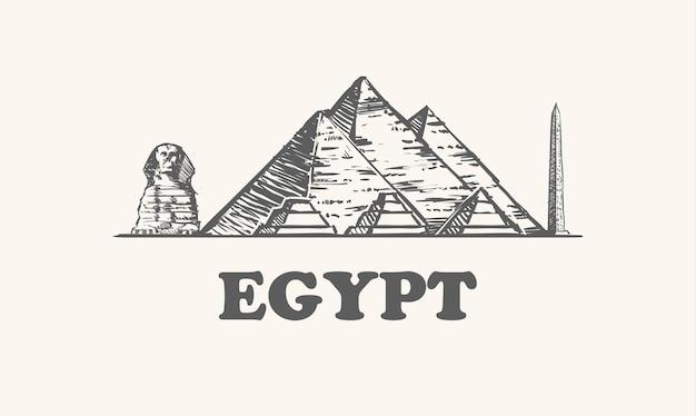 Pirámides, esfinge y obelisco en egipto