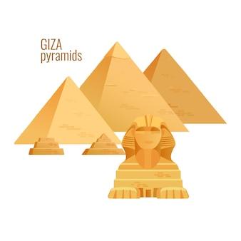 Pirámides de giza vista de arquitectura de viaje antiguo de egipto.