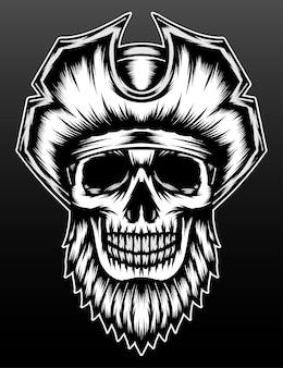 Pirata cráneo barbudo fresco aislado en negro