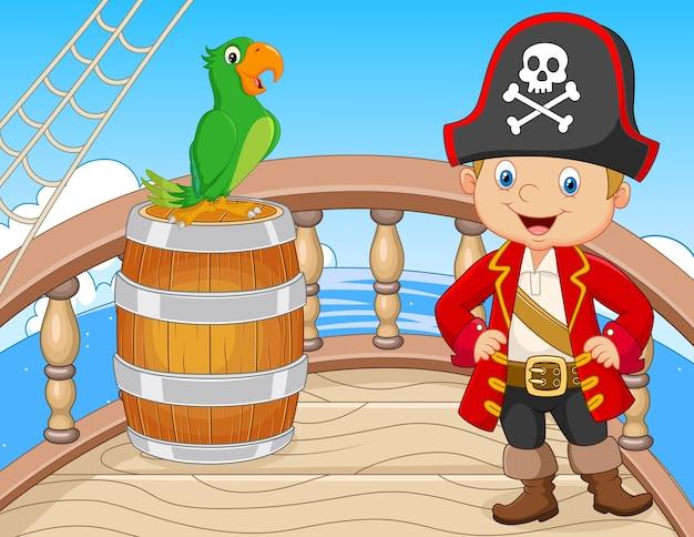 Pirata de dibujos animados en el barco con loro verde