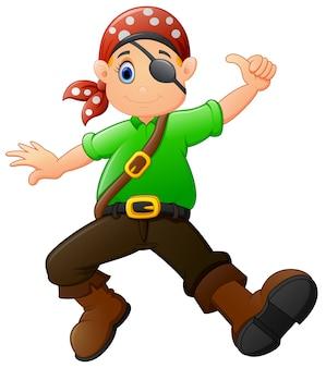 Pirata de dibujos animados dando pulgar