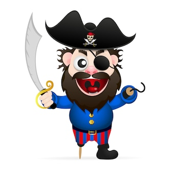 Pirata de dibujos animados divertido