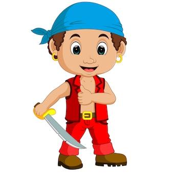 Pirata de dibujos animados sosteniendo una espada