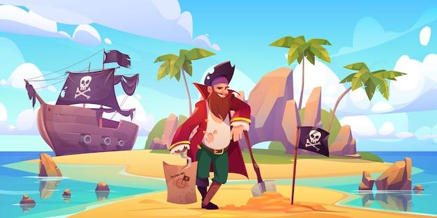 Pirata enterrado cofre del tesoro en isla tropical