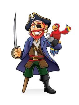 El pirata estaba de pie sosteniendo una espada desenvainada con un loro posado en la mano
