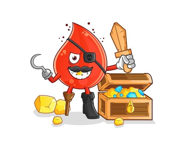 Pirata de la gota de sangre con la mascota del tesoro. mascota de dibujos animados mascota