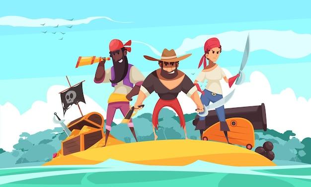 Pirata horizontal con vista de la isla y joyas de dibujos animados y tesoro con personas