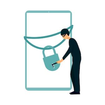 El pirata informático abre el candado en la ilustración de la pantalla del dispositivo.