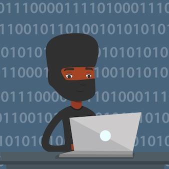 Pirata informático que usa la computadora portátil para robar información.