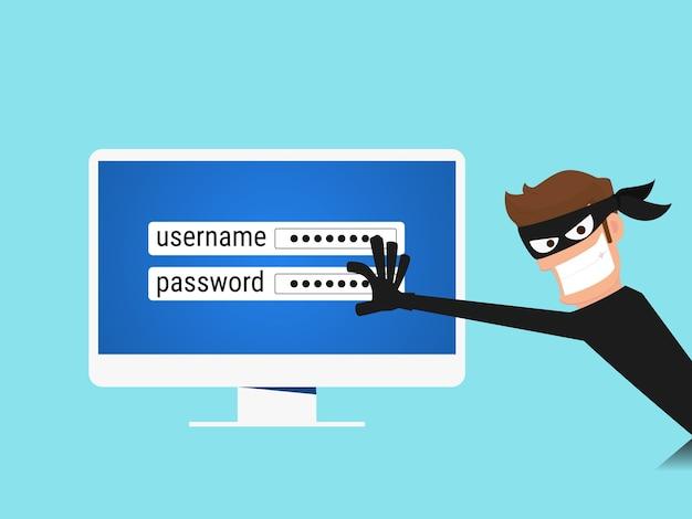 Pirata informático robar datos confidenciales