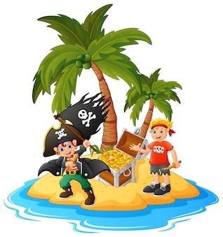 Pirata en la isla del tesoro