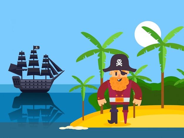 Pirata en la isla tropical, ilustración. divertido personaje de dibujos animados pirata capitán con barba roja. corsair en la playa con palmeras, velero negro en el mar