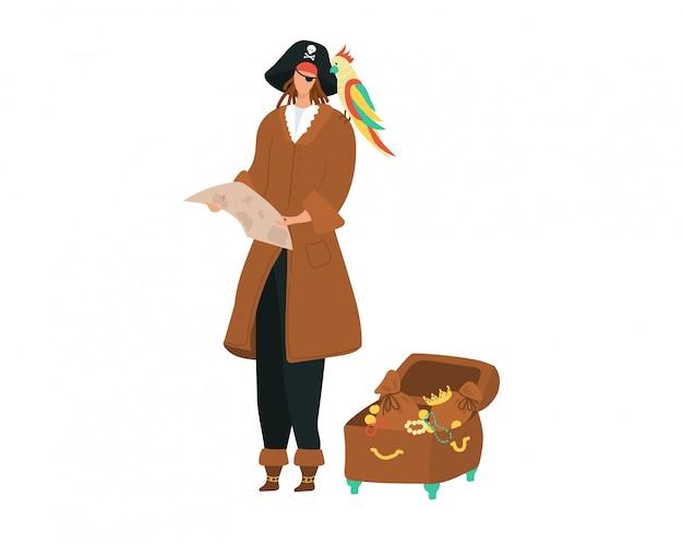 Pirata con mapa y cofre del tesoro de oro con un loro encaramado en el hombro, ilustración de dibujos animados de disfraces iolated en blanco.
