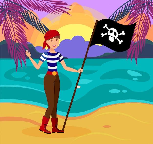 Pirata mujer amistosa con bandera plana ilustración