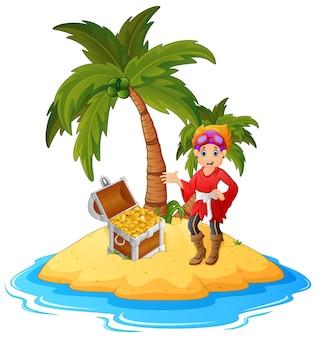 Pirata de mujeres en la isla del tesoro