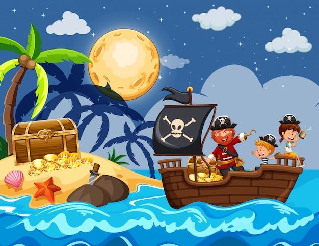 Pirata y niños que encuentran el tesoro