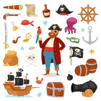 Pirata personaje pirata buccaneer hombre en traje de pirata con sombrero con espada ilustración conjunto de signos de piratería y barco o velero sobre fondo blanco.