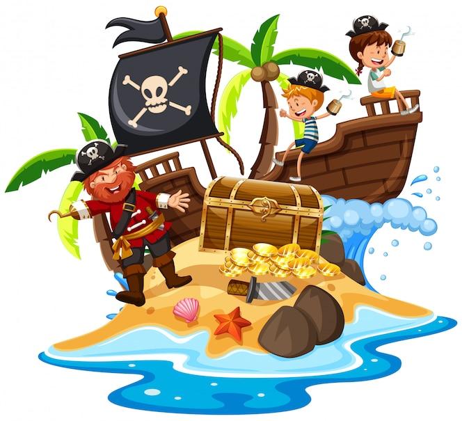 Pirata y niños felices en la isla