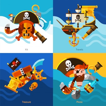 Piratas 2x2 design concept set