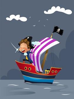 Piratas en barco en el mar ilustración
