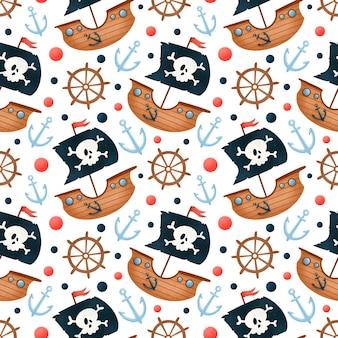 Piratas de dibujos animados lindo barco de patrones sin fisuras