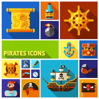 Piratas iconos de dibujos animados plana