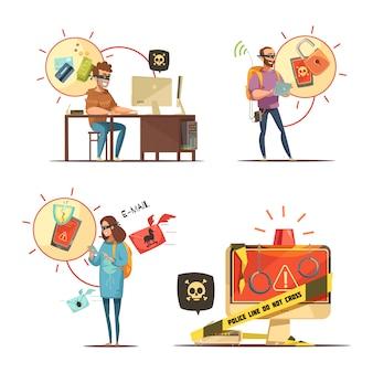 Los piratas informáticos que rompen cuentas bancarias y dispositivos móviles acceden al crimen 4 iconos de dibujos animados retro composición iso