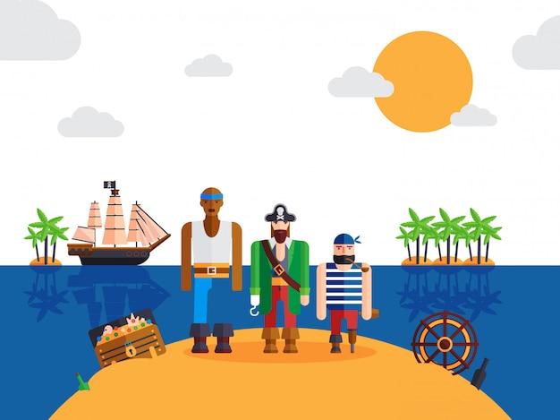 Piratas en la isla desierta divertidos personajes de dibujos animados capitán pirata y marineros
