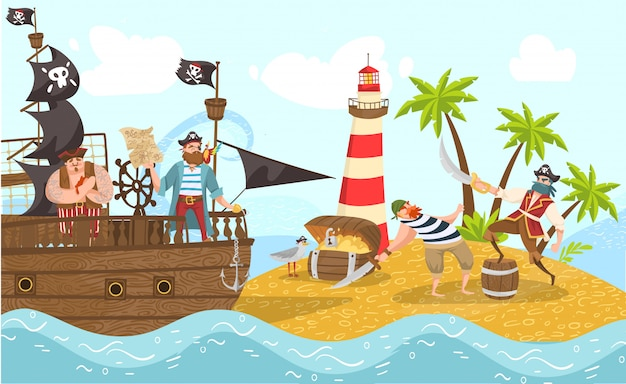 Piratas del mar en barco pirata, bucaneros ilustración de personajes de dibujos animados con aventura en la isla del tesoro.