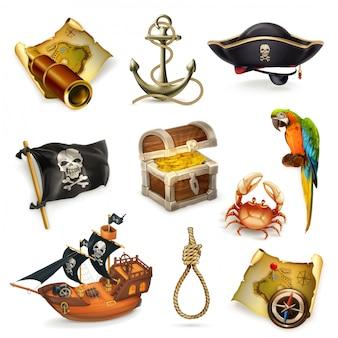 Piratas del mar, conjunto de imágenes prediseñadas de vector
