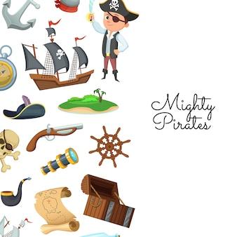 Piratas marinos de dibujos animados. patrón de tesoro pirata para niños