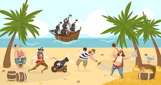 Los piratas marinos luchan y beben ron en la isla, bucaneros ilustración de personajes de dibujos animados con aventura del tesoro.