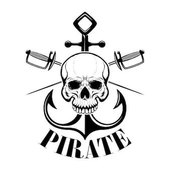 Piratas plantilla de emblema con espadas y calavera pirata. elemento para logotipo, etiqueta, emblema, signo. ilustración