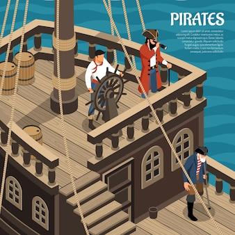 Piratas durante el viaje en velero barco de madera en mar isométrico