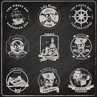 Pirate emblems chalk chalk set