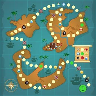 Pirate mapa de la isla del tesoro mapa puzzle plantilla ilustración vectorial.