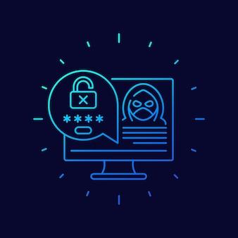Piratería, icono de vector de línea de acceso no autorizado