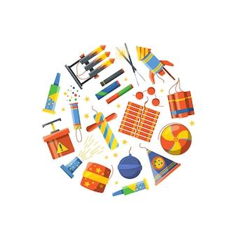 Pirotecnia de dibujos animados se reunieron en la ilustración círculo. fuegos artificiales de celebración y dibujos animados, explosión de pirotecnia, carnaval festivo