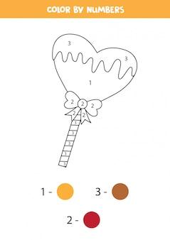 Piruleta de color corazón por colores. dibujo para colorear para niños.