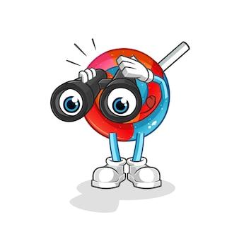 Piruleta con ilustración de personaje de binoculares