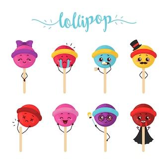 Piruleta palo de caramelo helado de fresa melón naranja ilustración personaje dibujos animados mascota pegatina
