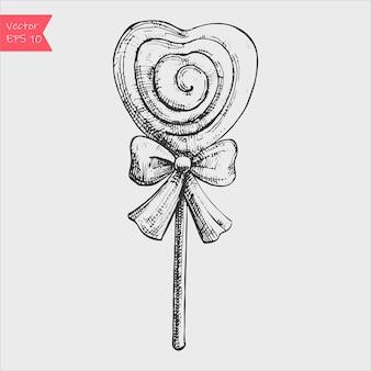 Piruletas de corazón en estilo dibujado a mano.