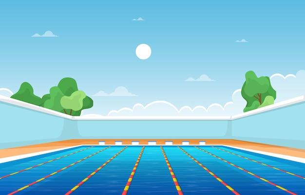 Piscina al aire libre vacaciones deporte saludable dibujos animados